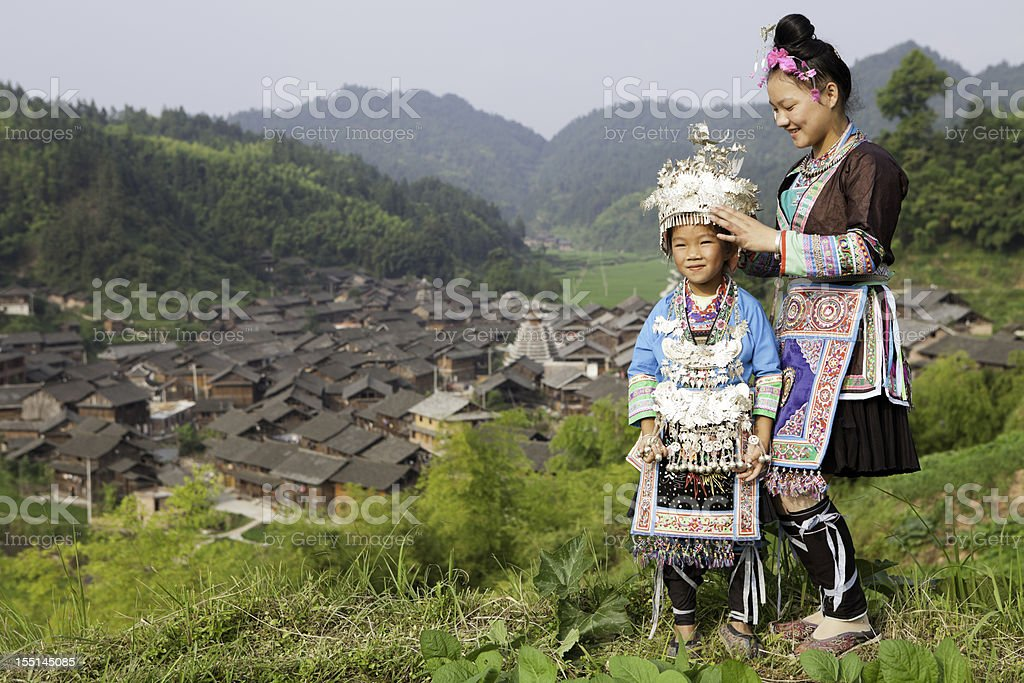 Dong Tribe Mother And Daughter stock photo