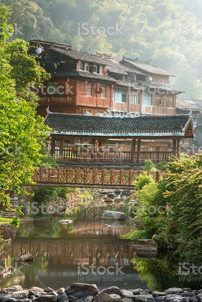 Dong village ZhaoXing, wooden bridge over river. stock photo