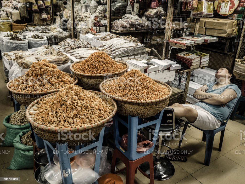 Dong Xuan Market Hanoi Vietnam stock photo