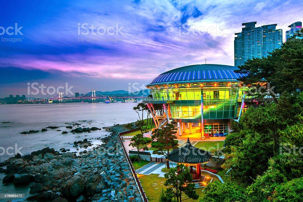 Dongbaek island with Nurimaru APEC House and Gwangan bridge stock photo