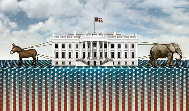 donkey and elephant tug of war for the white house - республиканская партия сша стоковые фото и изображения