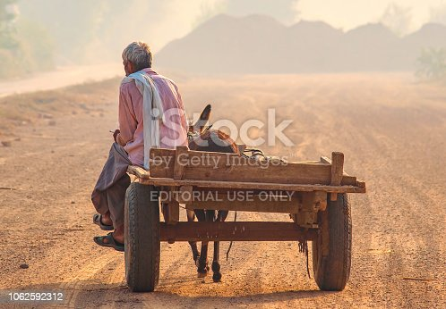 Donkey carriage cart and its driver, an old man of Pakistan
