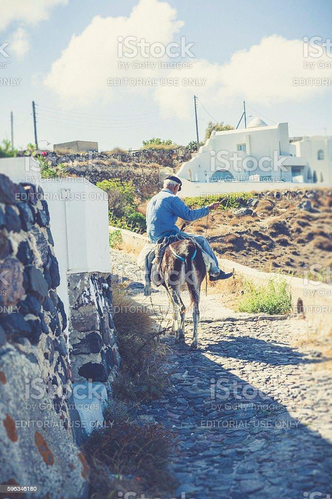 donkey man at santorini island royalty-free stock photo