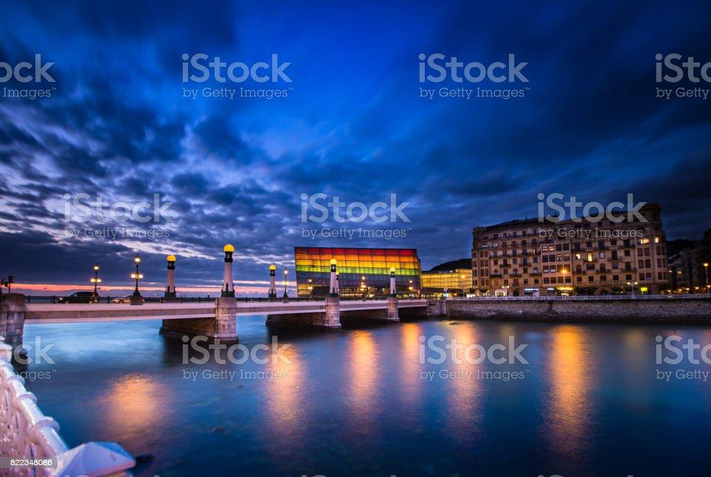 Donostia San Sebastian at night stock photo