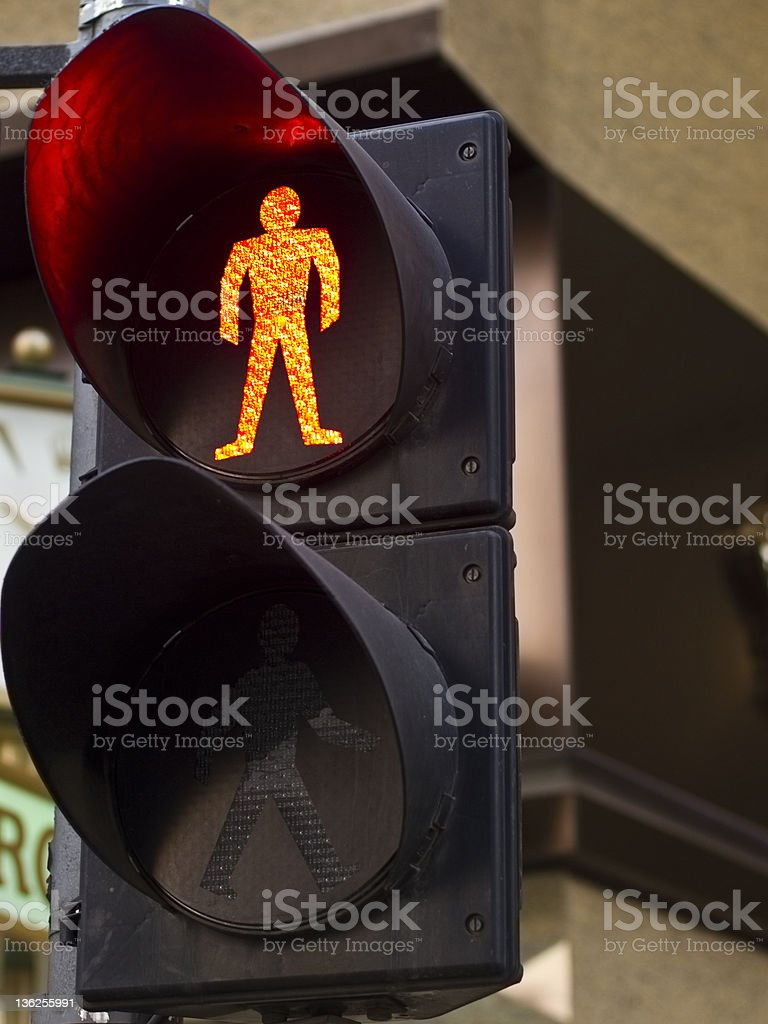 Don't cross. Pedestrian crossing. Red man showing. stock photo