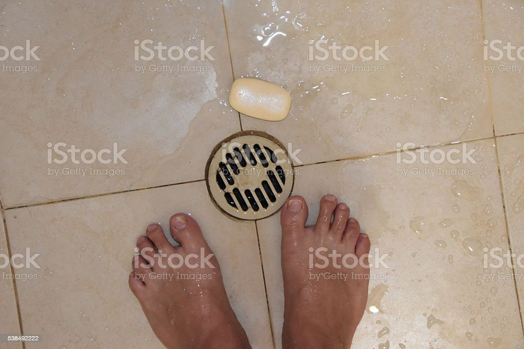 Don't drop the soap! stock photo