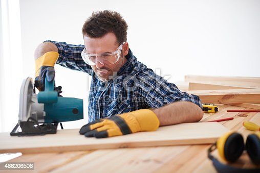 istock Don't forget about safety when you use electric saw 466206506