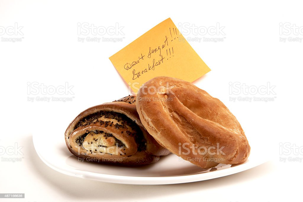 Don't forget ! Breakfast! stock photo