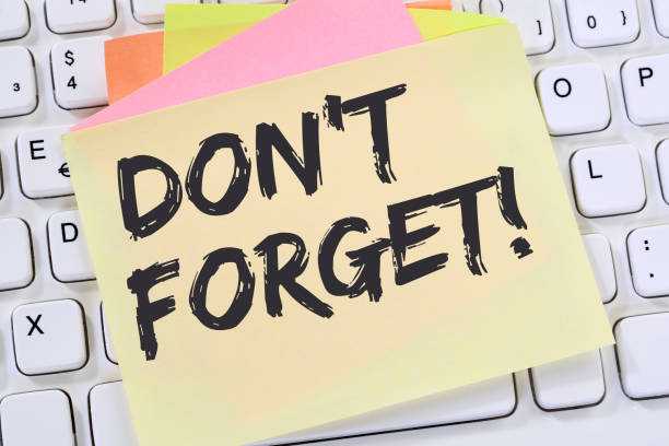 don't forget date meeting remind reminder notepaper business concept - reminder stock photos and pictures