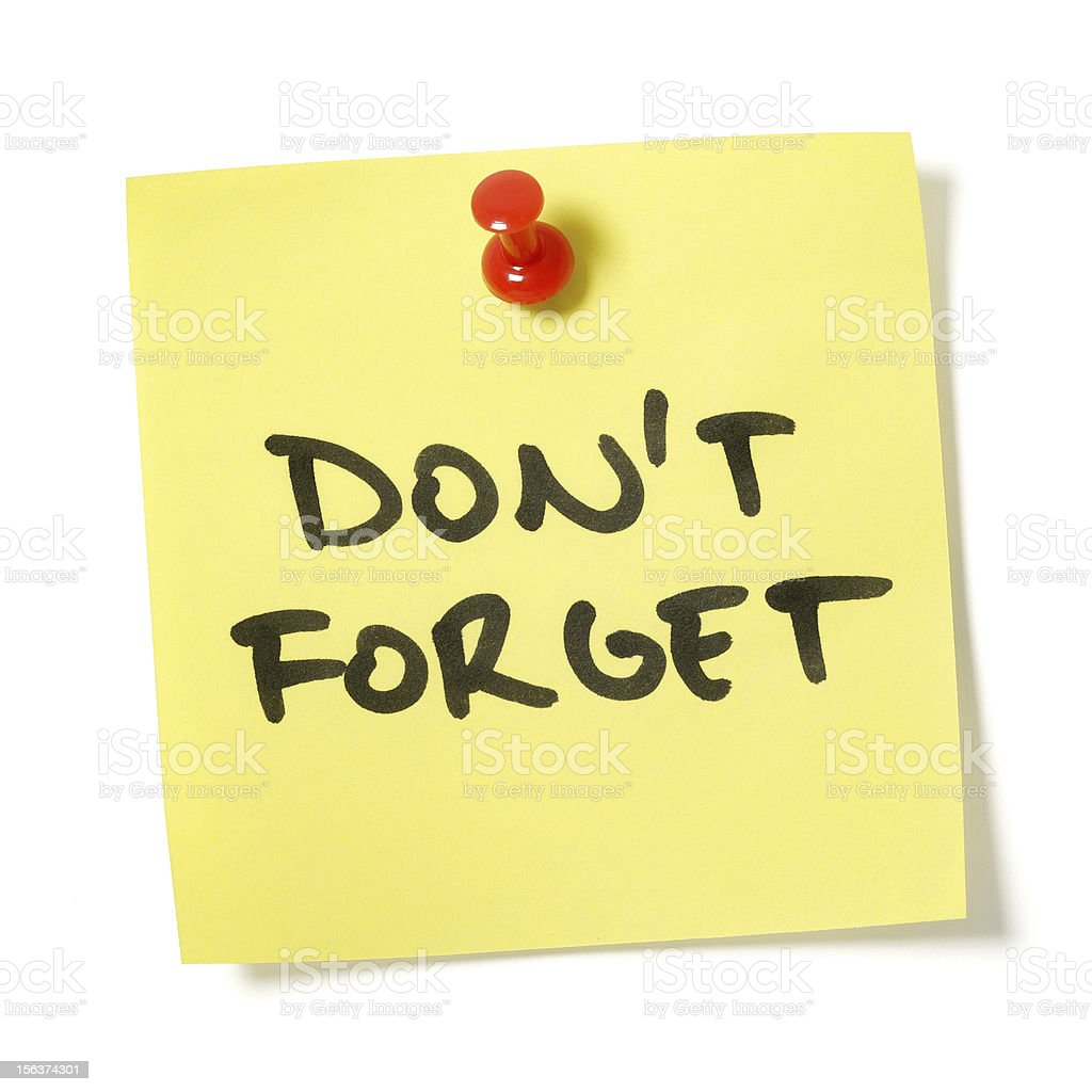 Don't Forget Note stock photo