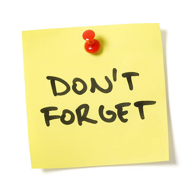 don't forget note - reminder stock photos and pictures