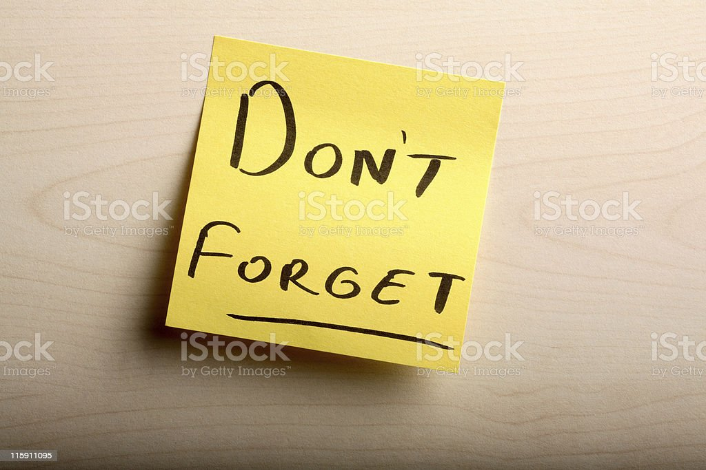 Don't Forget royalty-free stock photo