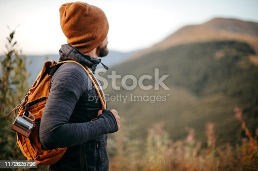 Young man hiking in nature