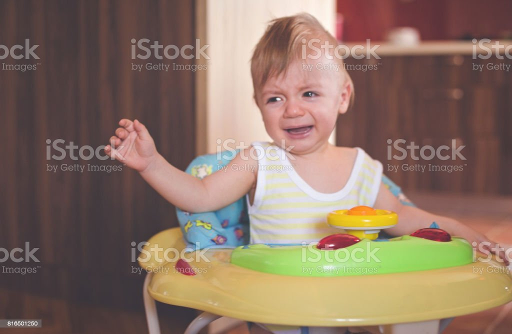 I don't like baby walker stock photo