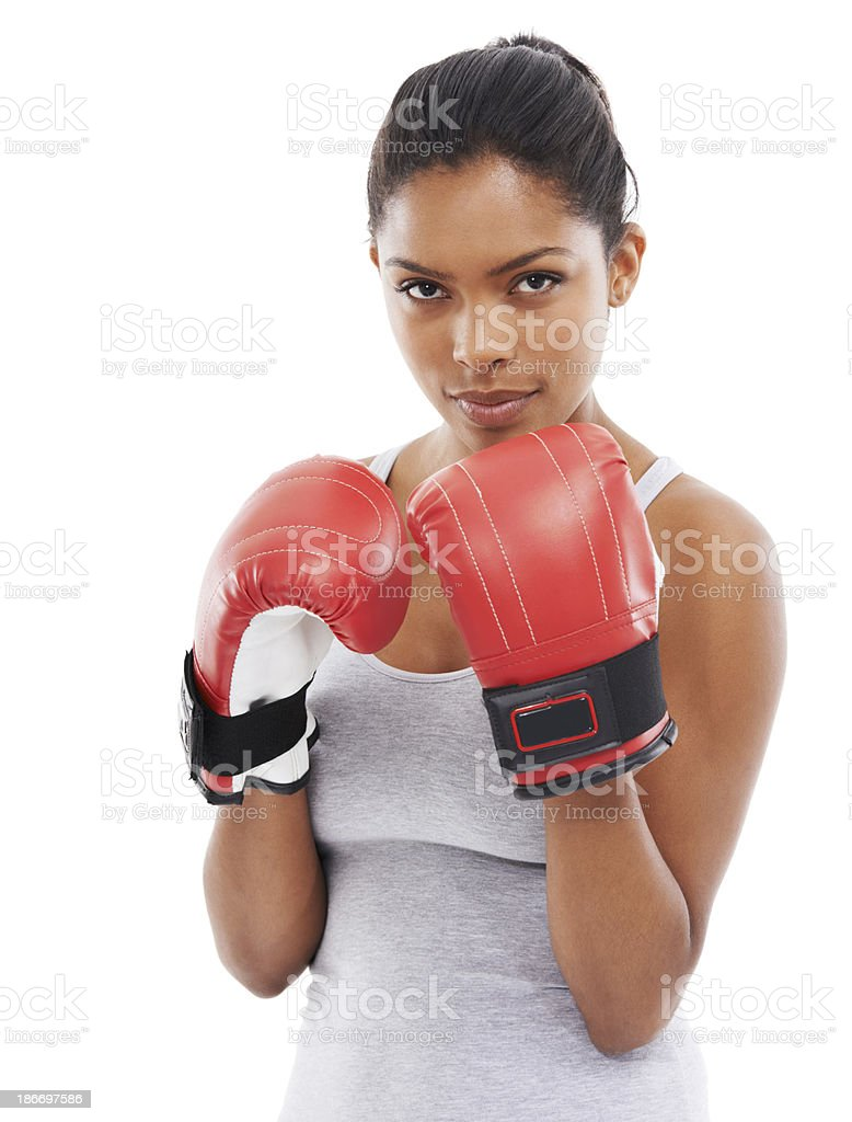 Don't mess with this girl! stock photo