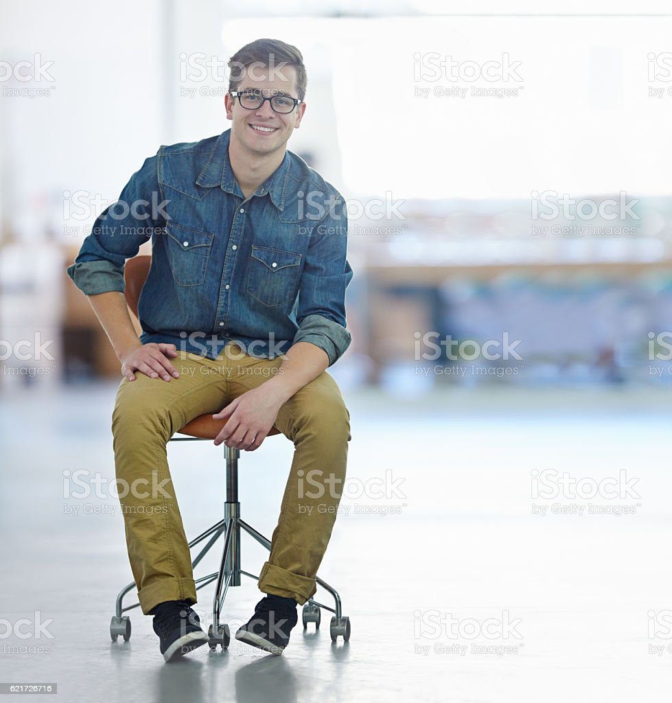 I don't need a desk to excel! stock photo