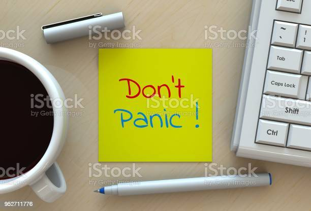 Dont panic message on note paper computer and coffee on table 3d picture id952711776?b=1&k=6&m=952711776&s=612x612&h=vgwxsufmzihyx94xstoqkryotbm2lycr4w3x vfs8da=