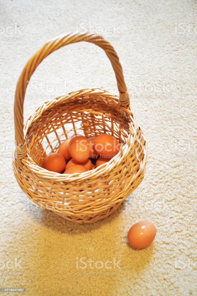 Don't put all your eggs in one basket stock photo