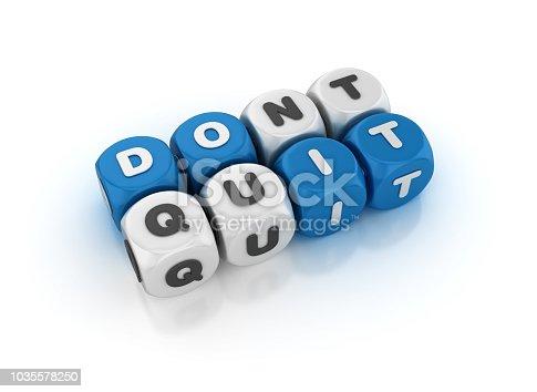 Don't Quit Crossword - White Background - 3D Rendering