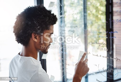 Shot of a young designer writing notes on a glass wall in an office