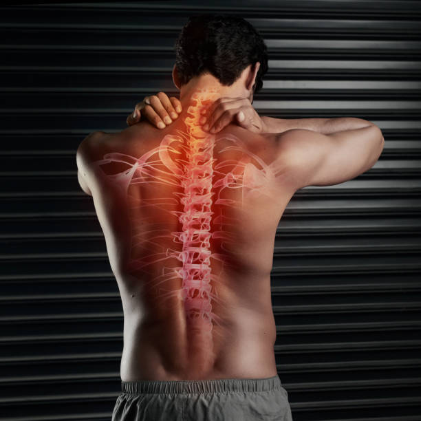 Don't risk a spinal injury Studio shot of a muscular young man rubbing his neck with his spinal column showing through cgi spine body part stock pictures, royalty-free photos & images