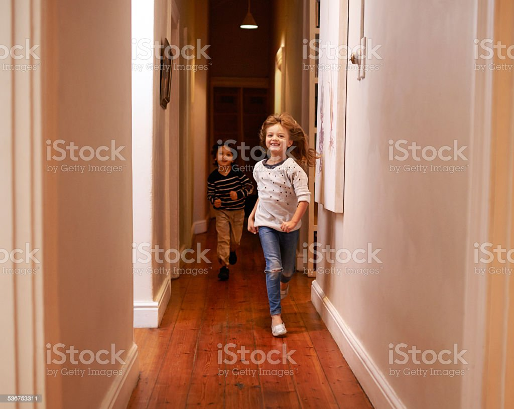 Don't run in the house! stock photo