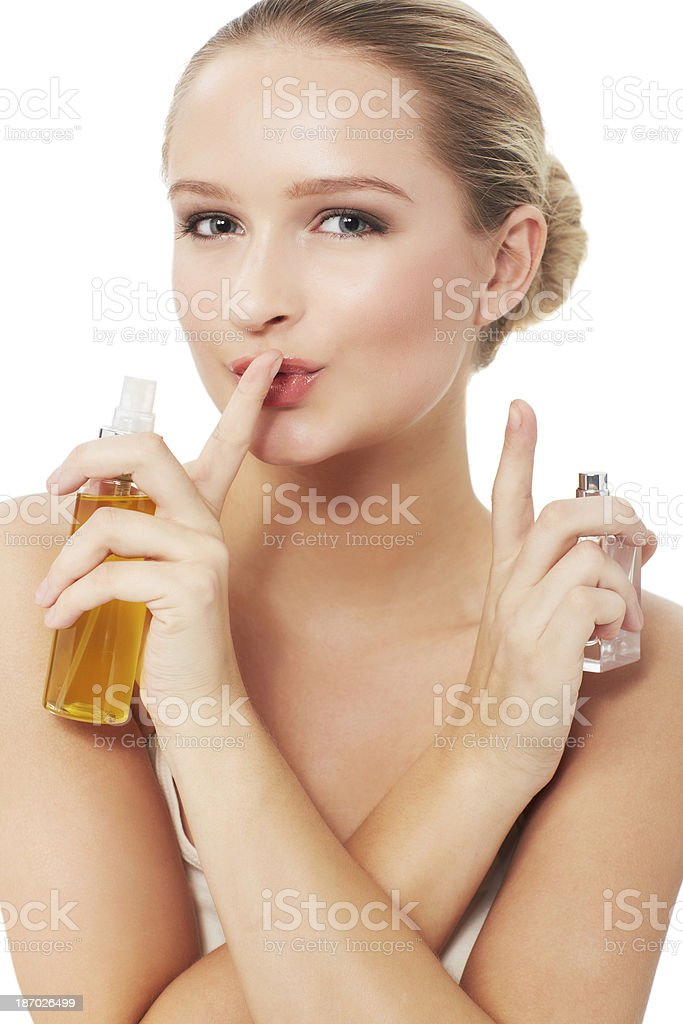 Don't tell anyone about my beauty secrets... royalty-free stock photo