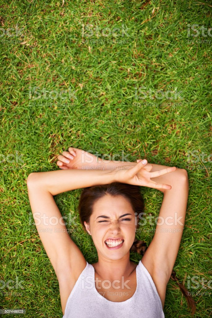 I don't want to get up! stock photo