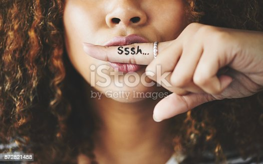 Cropped shot of a woman posing with her finger in her mouth
