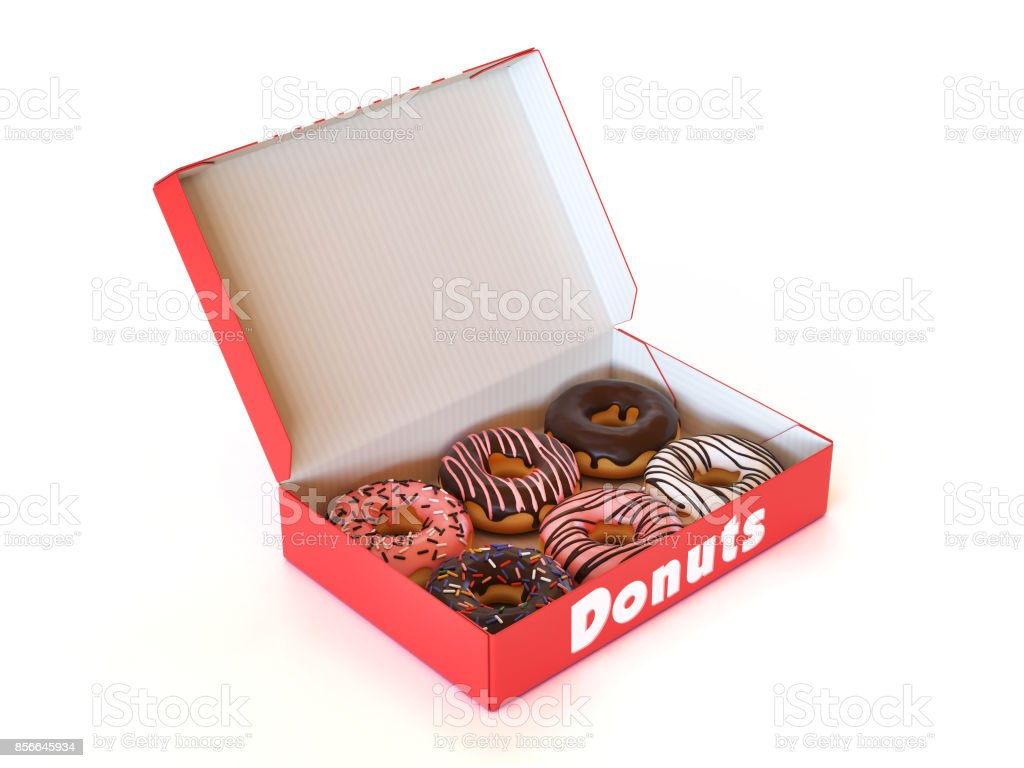 Donut box isolated on white background 3d rendering stock photo