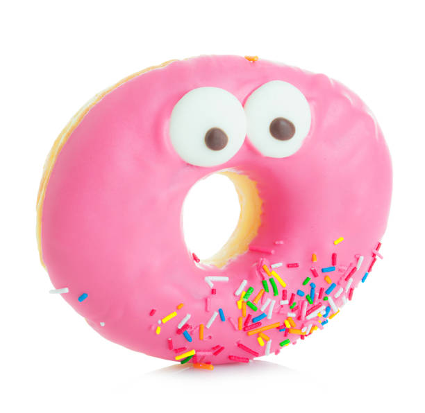 Donut close-up isolated on a white background. stock photo