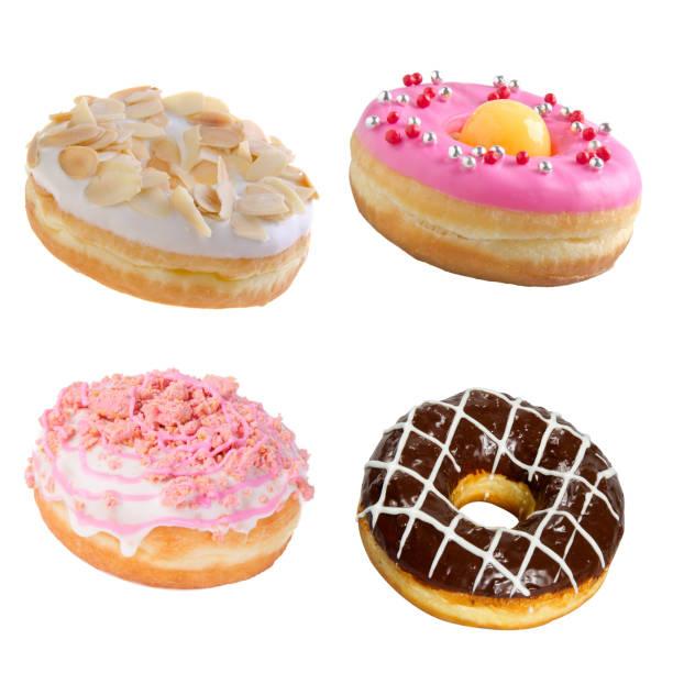 도넛이나 도넛은 흰색 백그룬에 고립 스톡 사진