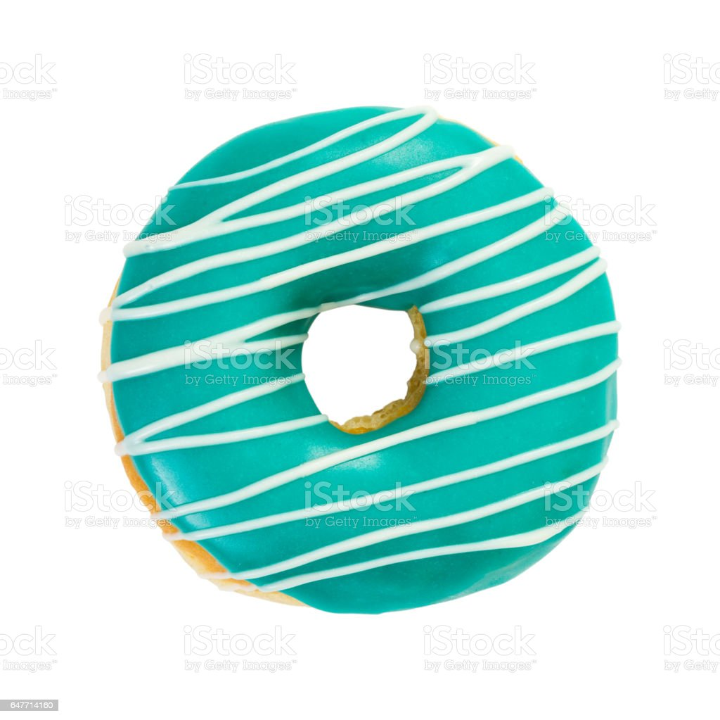 Donut turquoise color with white stripes stock photo