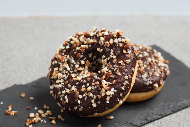 Donut with almonds stock photo