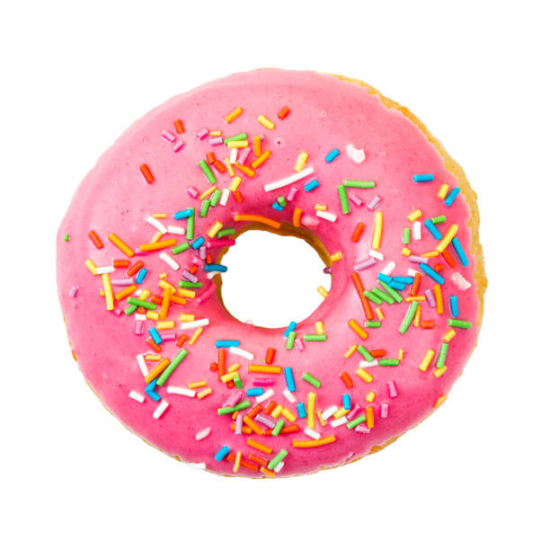 Donut with colorful sprinkles. Top view. stock photo