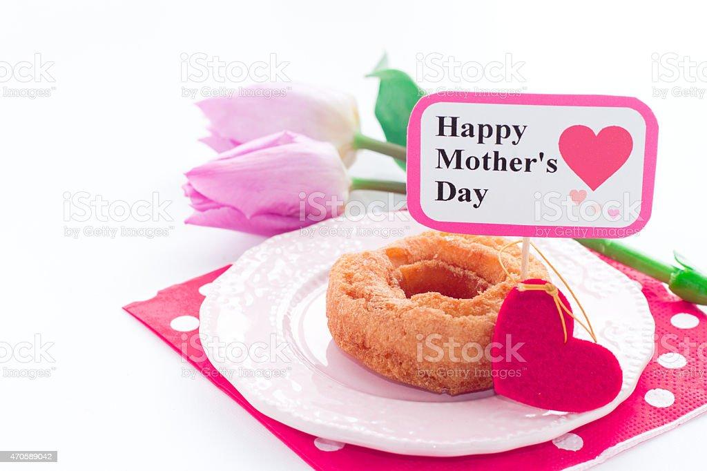 ドーナツをエレガントな花の母の日 ストックフォト