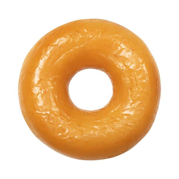 donut met geglazuurde geïsoleerd op witte achtergrond. een ronde glanzende gele glazuur donut. vooraanzicht. bovenaanzicht - geglazuurd stockfoto's en -beelden