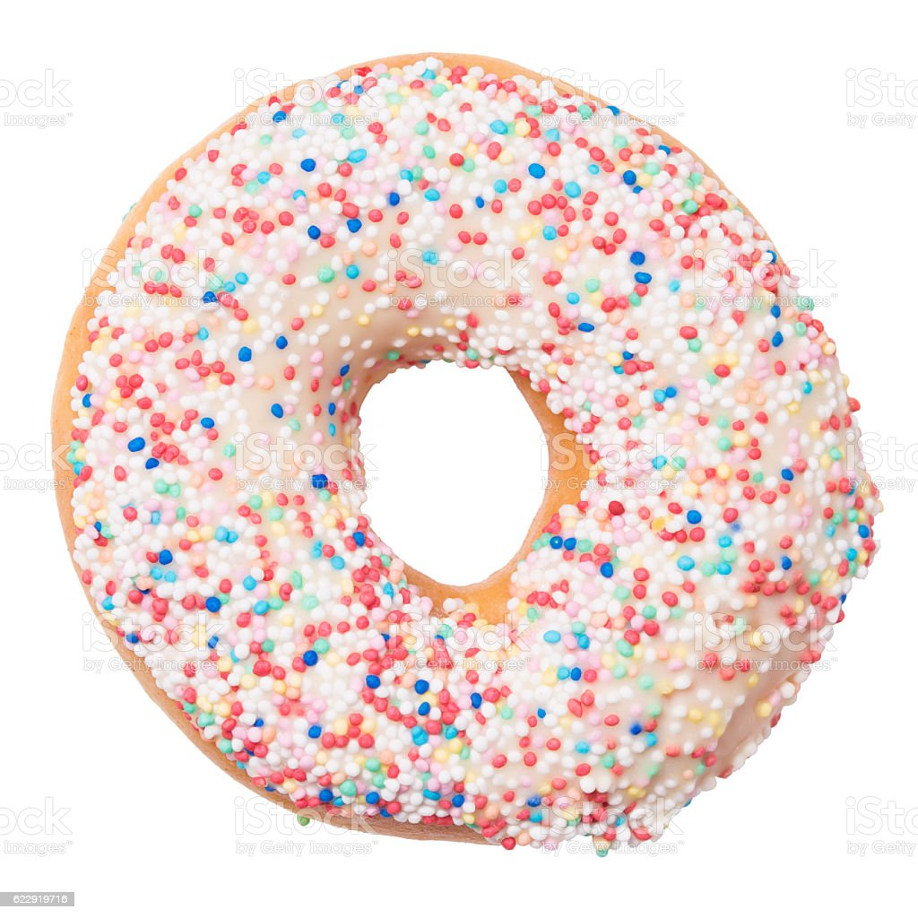 Donut with sprinkles isolated on white background stock photo