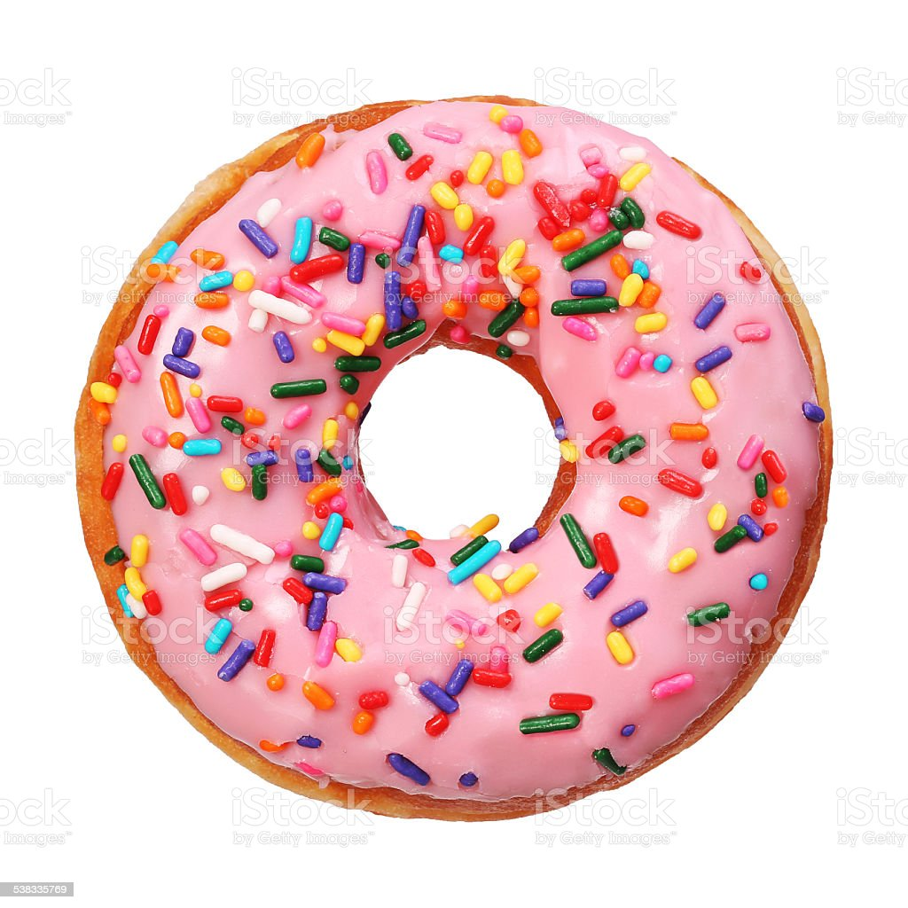 Donut with sprinkles isolated stock photo