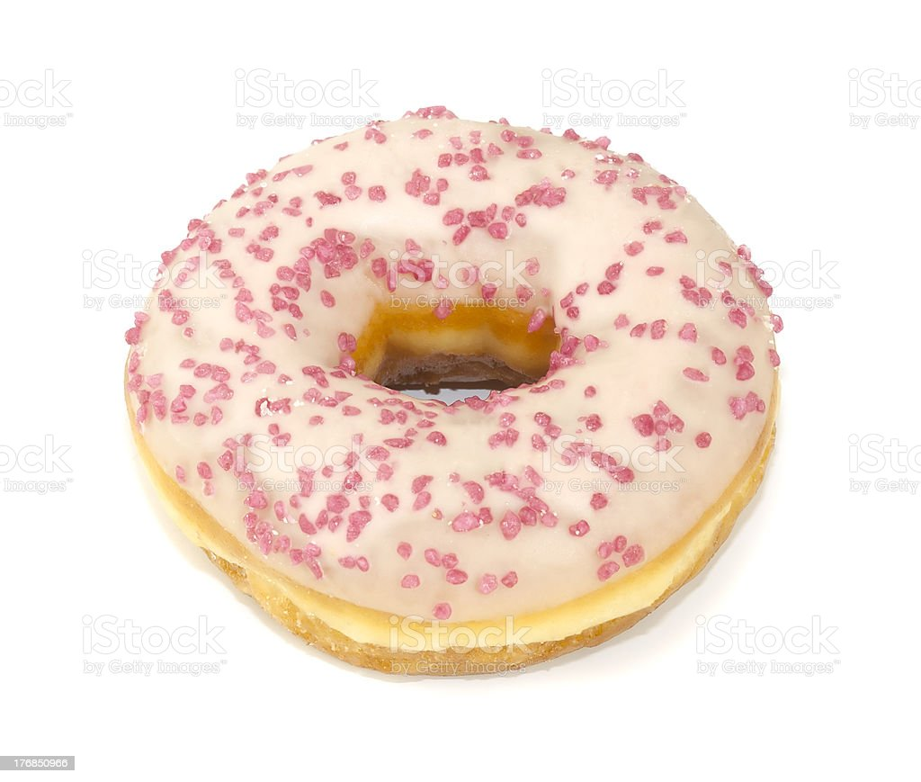 Donut with sugar icing isolated on white background royalty-free stock photo