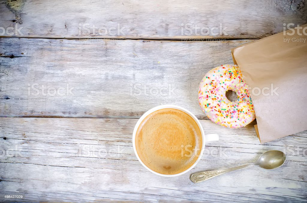 Donuts and coffee stock photo