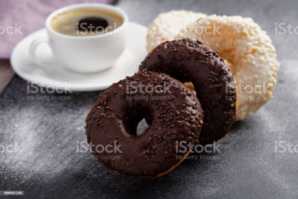 Donuts and coffee royalty-free stock photo