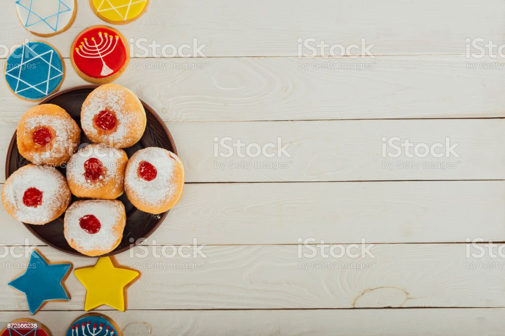 donuts and cookies with star of david stock photo