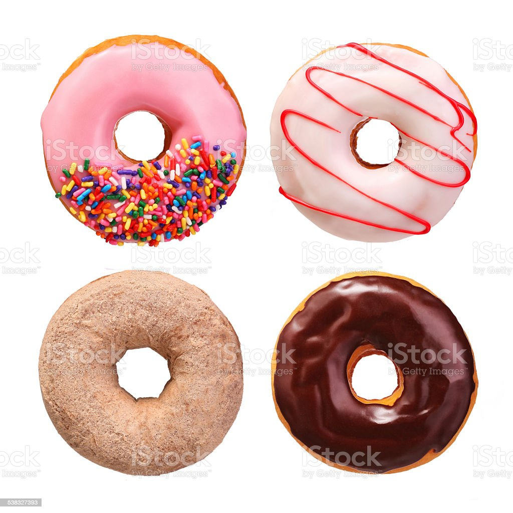 Donuts collection isolated stock photo