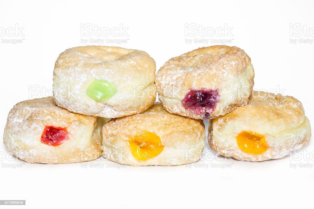 Donuts for hanukkah celebration on white background. stock photo
