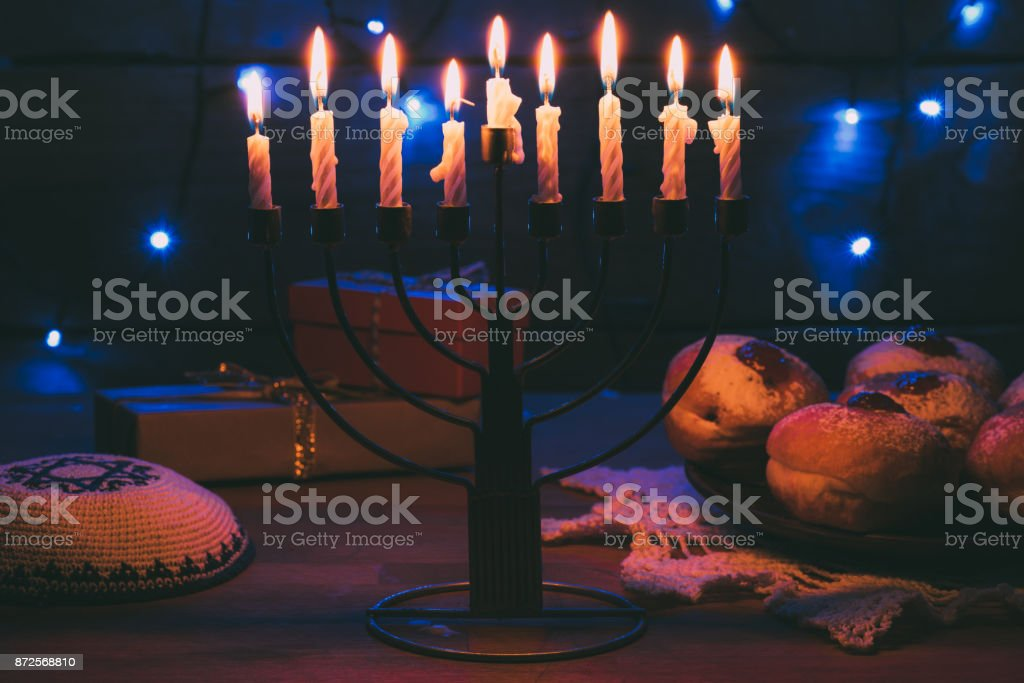 donuts for hanukkah celebration stock photo
