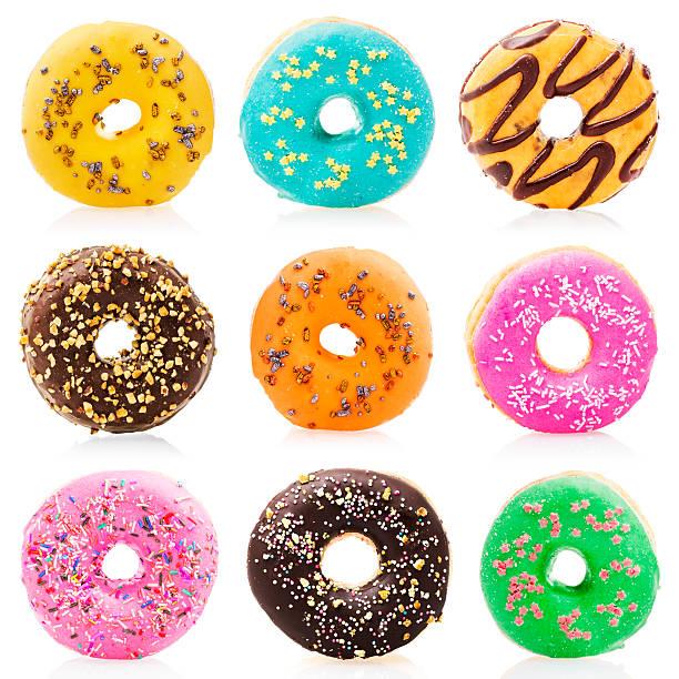 Donuts aislado sobre fondo blanco - foto de stock