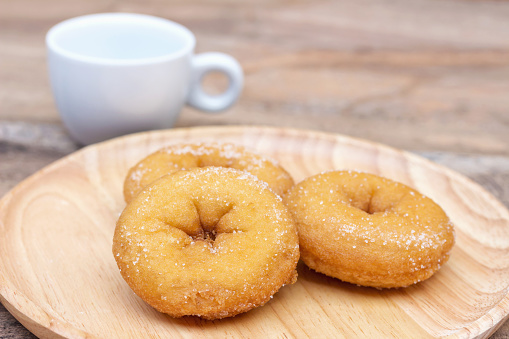 Donuts on wood plate
