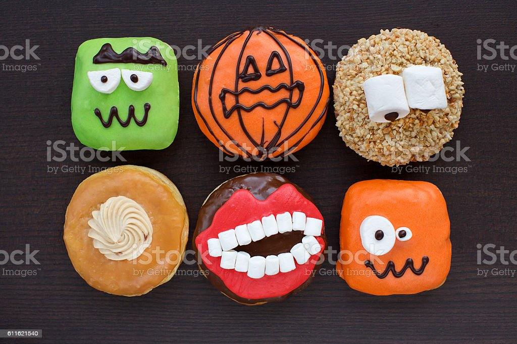 Donuts on wooden background stock photo