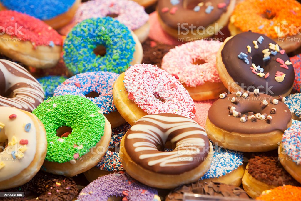 Donuts Colorful donuts with different decorations Baked Stock Photo
